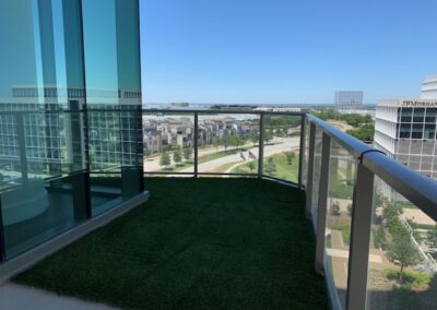 Artificial Turf on a rooftop balcony in Downtown Dallas