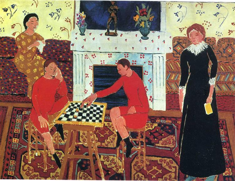 Matisse painting of family by the fireplace