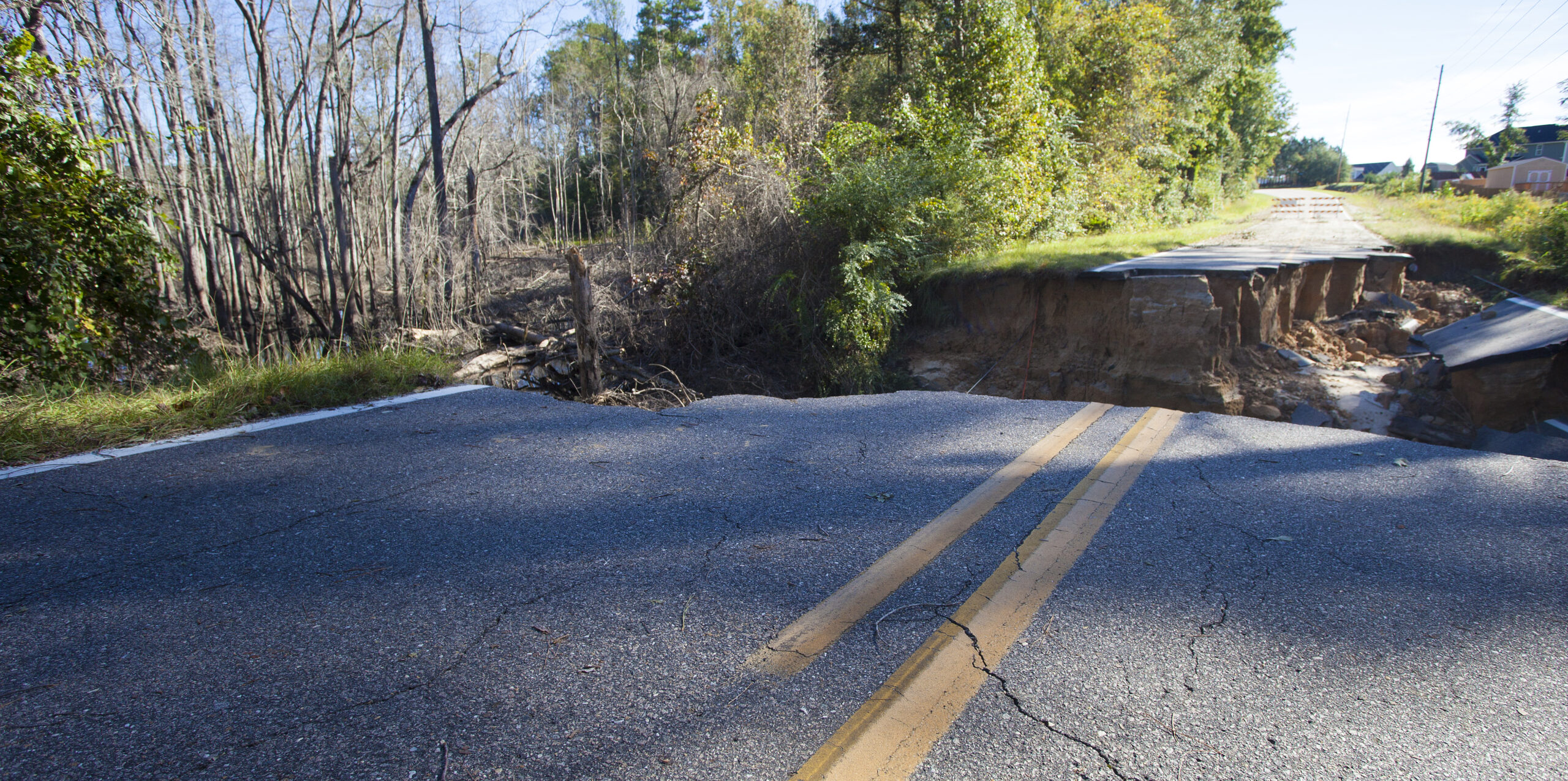 Roadway that has disappeared near Fayetteville North Carolina after Hurricane Matthew