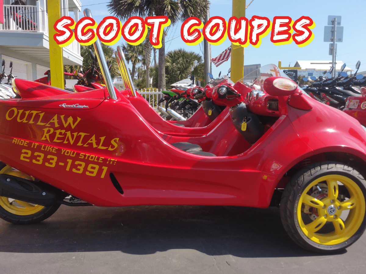 Outlaw Rentals - Panama City Beach - Scoot Coupe - Scooter Car Rentals