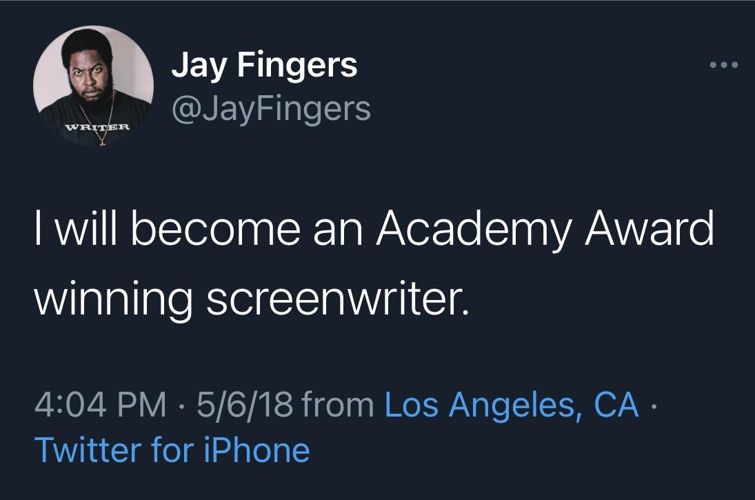 Jay Fingers Academy Award tweet