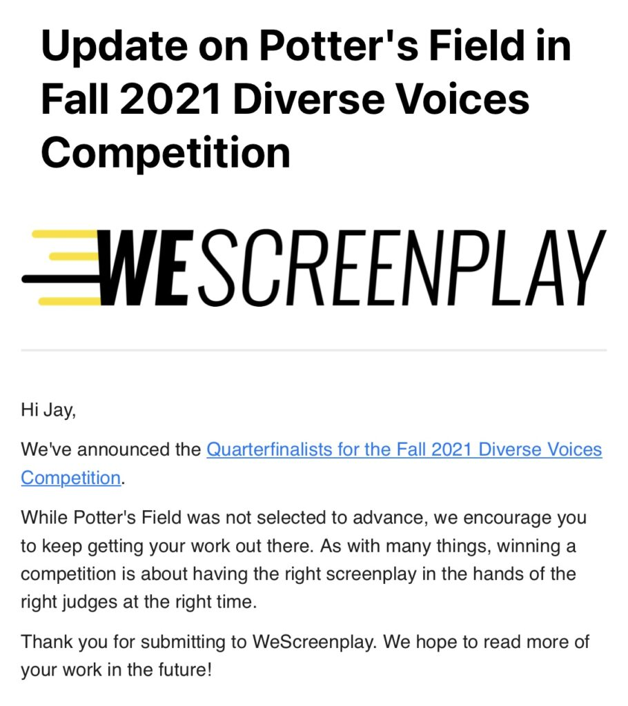 Writing Update: How I Did in the WeScreenplay Diverse Voices Screenplay Contest 🏆