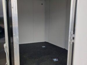 Looking into trailer through side door