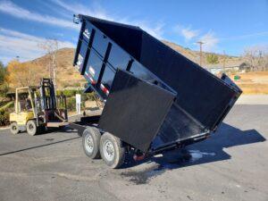 Snake River 7x12 Dump 4ft - Driver side rear 3/4 view bed dumped