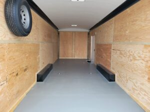 TNT 8.5x24 XCEL V-NoseDLX - View of pained floor, ceiling liner & spare