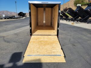 TNT 6x12 V-Nose Ramp3K DLX - View from rear ramp door open and transition down