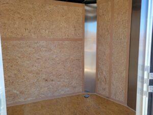 Closeup view through side door