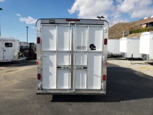 Looking at rear of trailer doors closed