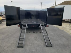 Snake River 7x14 Dump 4ft - rear view ramps deployed