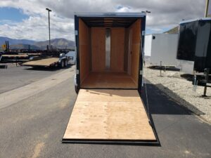 TNT 6x10 V-Nose Ramp - Looking into rear of trailer and ramp door