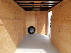 Big10 6X12 V-Nose Ramp View of rear interior closeup