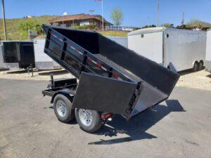 Five Star 6.5x10 10k Dump2ft - Driver side rear 3/4 view bed dumped