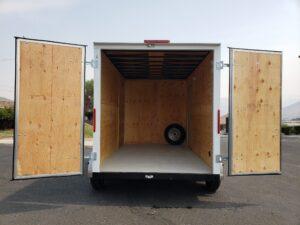 Big10 7x12 V-Nose D/D - View of rear doors open into cargo area