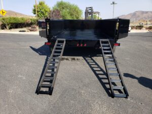 Snake River 7x10 Dump 2ft - Rear view doors open and ramps deployed