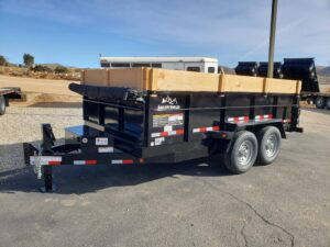 Snake River 7x14 Dump 2ft/SG - Driver side front 3/4 view w/wood extensions