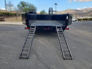 Snake River 7x14 Dump 2ft - Rear view doors open ramps deployed