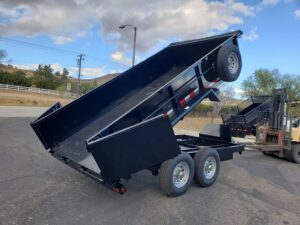 Snake River 7x14 Dump 2ft - Bed up passenger side rear 3/4 view