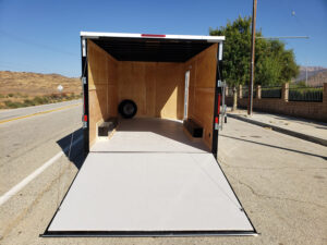 Big10 8x16 V-Nose 10K - Looking into rear interior & at ramp