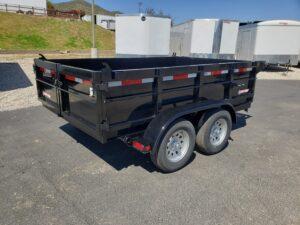 Five Star 6.5x10 7k Dump2ft - Passenger side rear 3/4 view bed down