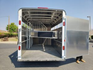 Maverick 4-Horse Highside - View of rear door open into stall area