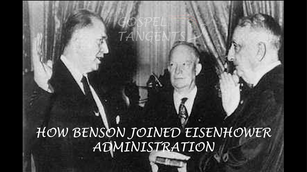 President Eisenhower looks on while Ezra Taft Benson is sworn in as Secretary of Agriculture by Supreme Court Justice Fred M. Vinson.