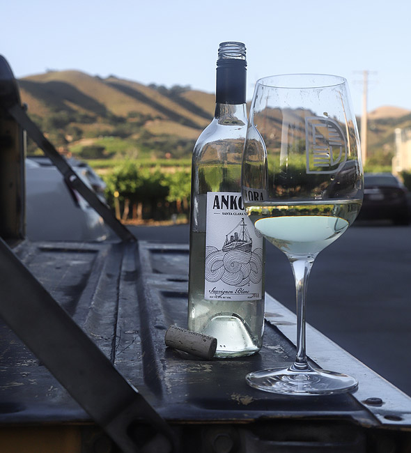 Wine bottle and glass sitting on the tailgate - DFV