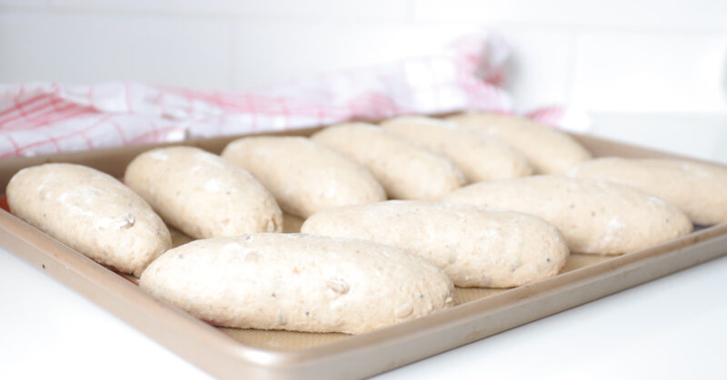 bread rolls after proofing
