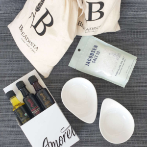 Gift set for bakers with olive oil