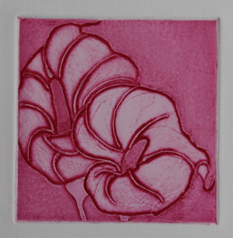 Flower series Etching 4,  size 3.8x3.8 inch Year: 2017