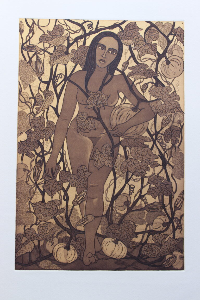 Title: Nature a beautiful trap 2 Size: 10 x 14.5 inch Medium:Etching Year: 2014