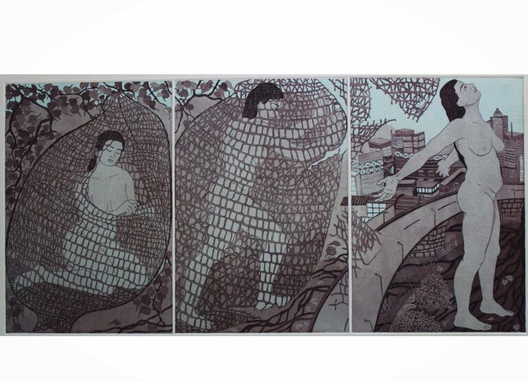 Title: The struggle within Size: 30 x 14.5 inch Medium: Etching Year: 2017