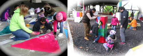 The one-day installing workshop – residents, artists, children, volunteers working together on site