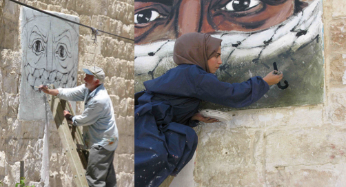 Rob (left) and Jannat (right) working on the portrait mural, 2014