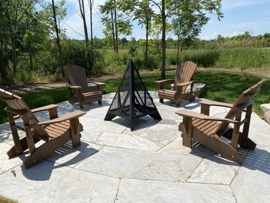 Flagstone sitting area with firepit