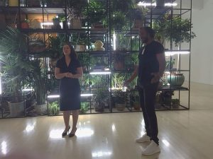 """Milwaukee Curator of Contemporary Art Margaret Andera and artist Rashid Johnson in front of """"Antoine's Organ."""" Photos by Jodie Jacobs"""