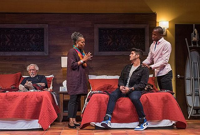 From left, Rudy (Mike Nussbaum),Linda (Penelope Walker), Jackson (Danny Martinez) and Felix (Sean Parris in 'Curve of Departure' at Northlight Theatre. (Photo by Michael Brosilow)