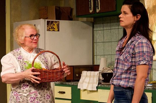 marssie Mencotti, L. and Kat Evans in City Lit's The Safe House. (Photo by Steve Graue)