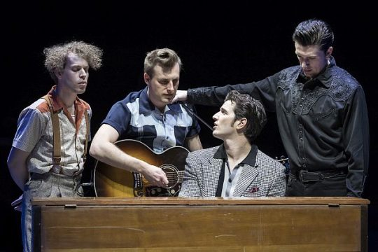 Nat Zegree, Shaun Whitley, Rustin Cole Sailors and Christopher J. Essex around the piano as in their characters' pose in the famed Million dollar Quartet photo