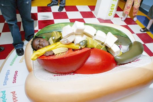 At 'Sensing Chicago' young visitors can become a Chicago-style hot dog. (Photo courtesy of the Chicago History Museum)