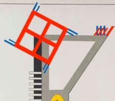 Detail) Kurt Schmidt, Construction for fireworks, from the Stage Workshop, 1923, lithograph / Reproduction 2017. Photo: Institut für Auslandsbeziehungen (Screen short photo courtesy of Elmhurst Art Museum)