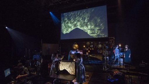 Cast and production crew of Manual Cinema's Frankenstine at Court Theatre (Michael Brosilow photos)