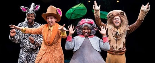 A zebra, giraffe, hippo and lion escape from a NYC zoo in Madagascar A Musical Adventure at Marriott Theatre. (Photos courtesy of Marriott theatre)