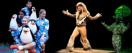 Penguins and a lion escape a zoo in Madagascar A Musical Adventure at Marriott Theatre