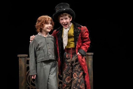 L to R Kayden Koshelev, (Oliver) and Patrick Scott McDermott (The Artful Dodger). (Liz Loren photo)