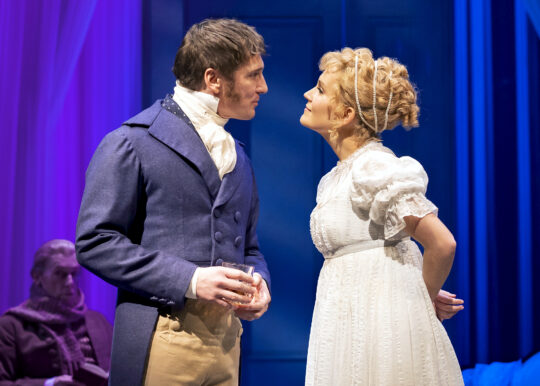 Emma Woodhouse (Lora Lee Gayer) and Mr. Knightley (Brad Standley) in Emma at Chicago Shakespeare Theater. (Photo by Liz Lauren)