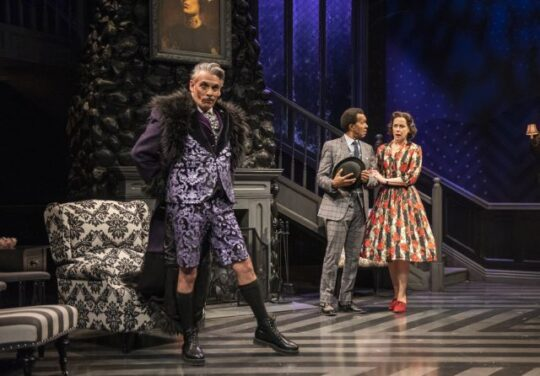 David Cerda, Allen Gilmore and Kate Fry in Mousetrap at Court Theatre. (Michael Brosilow photo)