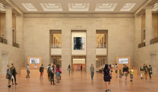 Upon entering the museum via the Robbi and Bruce Toll Terrace, visitors will be able to see up into the Great Stair Hall and down into the Williams Forum, revealing pathways to art on multiple levels. Architectural rendering by Gehry Partners, LLP and KX-L, 2016. (Photo courtesy Philadelphia Museum of Art, 2021.)