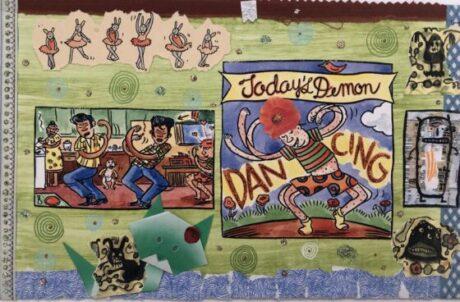 Lynda Barry, 100 Demons: Dancing, 2000-02. (Photo Courtesy Adam Baumgold Fine Art)