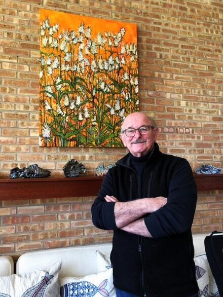 """Artist Mark McMahon and Thistles"""" that is part of his new flora series. (J Jacobs photo)"""