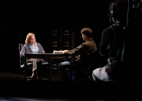Bella, Mary Beth Fisher and Christopher John Drea, in Adam Rapp's 'The Sound Inside' streaming live from Goodman Theatre. (Photo by Cody Nieset
